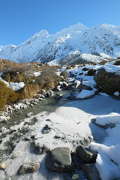 File:Icy Stocking Stream in front of Mt Sefton.jpg