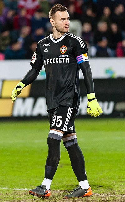 Igor Akinfeev is CSKA's most capped player with 584 appearances Igor Akinfeev 2018.jpg
