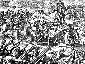 Battle of Cajamarca - Contemporary engraving of the Battle of Cajamarca, showing Emperor Atahualpa surrounded on his palanquin.