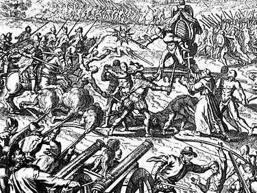Emperor Atahualpa is shown surrounded on his palanquin at the Battle of Cajamarca. Inca-Spanish confrontation.JPG
