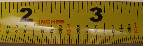 Measuring tape calibrated in 32nds of an inch Inch tape.jpg