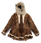 Inuit reindeer-hide parka with dog-fur trim