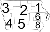 A map of Iowa with the eight judicial districts superimposed upon the state.