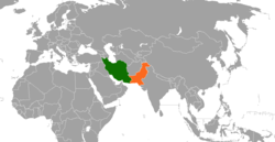 Map indicating locations of Iran and Pakistan