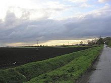 Flat ploughed field under a grey sky