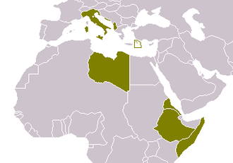 Royal Italian Army during World War II - The Italian empire in 1940. In addition to mainland Italy, Albania, ASI, and AOI are shown in green.  The Dodecanese islands are boxed in green.