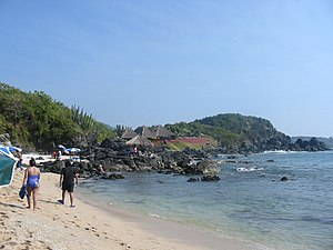 Isla Ixtapa - Coral Beach at Isla Ixtapa.  This beach faces open ocean and has a small coral reef just offshore.