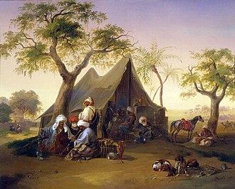Joseph Heicke - Arabs Drinking Coffee in Front of a Tent