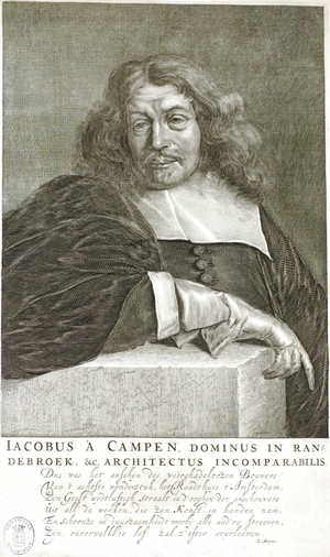 Jacob van Campen - Jacob van Campen in his book Images of the City Hall of Amsterdam in 30 engravings, 1665.