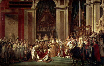 One of the most famous Imperial coronation ceremonies was that of Napoleon, crowning himself Emperor in the presence of Pope Pius VII (who had blessed the regalia), at the Notre Dame Cathedral in Paris.The painting by David commemorating the event is equally famous: the gothic cathedral restyled style Empire, supervised by the mother of the Emperor on the balcony (a fictional addition, while she had not been present at the ceremony), the pope positioned near the altar, Napoleon proceeds to crown his then wife, Joséphine de Beauharnais as Empress.