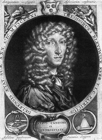 Dirk van Bleiswijk - Print by Jan Verkolje of Dirck Evertsz van Bleyswijck at the age of thirty, from his book in 1671.