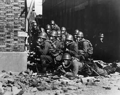 IJN army squadron wearing gas mask and waiting for assault order during the Sino-Japanese War