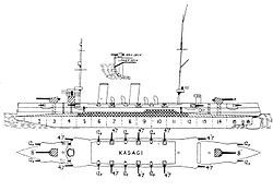 Japanese protected cruiser Kasagi left elevation plan.jpg