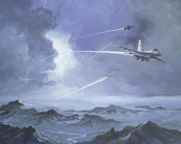 An artist's depiction of a Soviet surface-to-air missile system engaging two F-16 Fighting Falcons Jet over mount.jpg