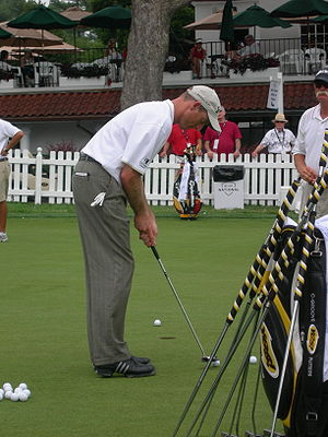 Jim Furyk on the putting green at the Congress...