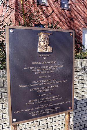 Murder of Jimmie Lee Jackson - Memorial where Jackson was shot, behind Zion Methodist Church in Marion,  Alabama