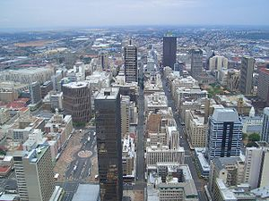 Water supply and sanitation in South Africa - The skyline of Johannesburg's Central Business District as seen from the observatory of the Carlton Centre.