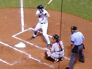 Sports in Minnesota - Twins catcher Joe Mauer at bat, Metrodome.