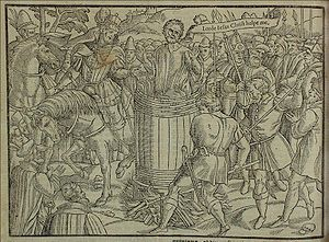 John Badby - John Badby's death, burned in a barrel (from John Foxe's Book of Martyrs (1563))