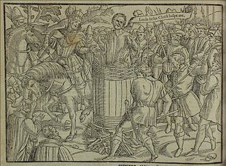 A sixteenth-century woodcut of John Badby being burned to death