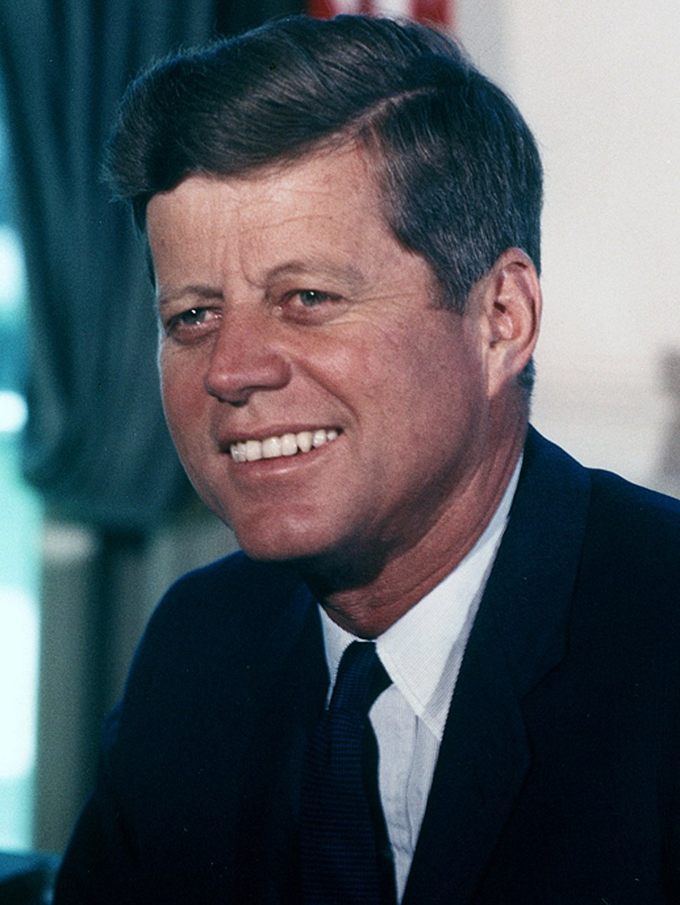 John F. Kennedy, White House color photo portrait (cropped 3x4) A