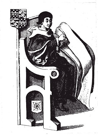 John Rous (historian) - John Rous, as depicted in the Rous Roll (1845 engraving after the original)