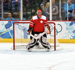 Jonas Hiller - Hiller with Switzerland during the 2010 Winter Olympics.