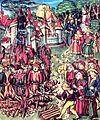 Juifs portant la rouelle condamnés au bûcher. Manuscrit médiéval..jpg