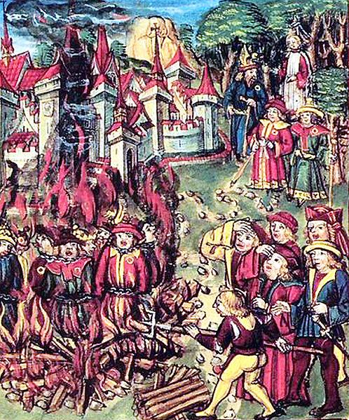Archivo:Juifs portant la rouelle condamnés au bûcher. Manuscrit médiéval..jpg