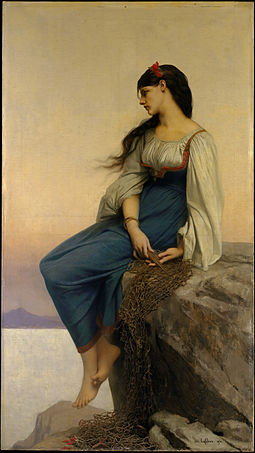 The title character, as depicted by Jules Joseph Lefebvre (1878) Jules-Joseph Lefebvre, Graziella, The Metropolitan Museum of Art.jpg