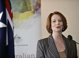 Politics of Australia - Julia Gillard, Prime Minister of Australia from 2010–2013 and the first female Prime Minister of the country.