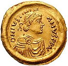 Tremissis with the image of Justinian the Great (527–565 CE) (see Byzantine insignia) of Byzantine Empire