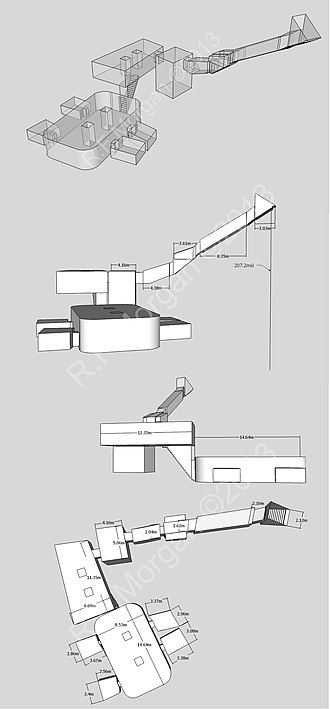 KV34 - Isometric, plan and elevation images of KV34 taken from a 3d model