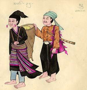 Jingpo people - Kachin tribe, depiction from 1900s