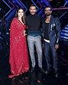 Kajol, Ajay Devgn and Remo D'Souza promoting Tanhaji.jpg