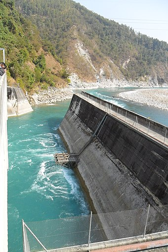Middle Marshyandi Hydroelectricity Dam. Nepal has significant potential to generate hydropower, which it plans to export across South Asia Kaligandaki A HPS Tailrace Channel.jpg