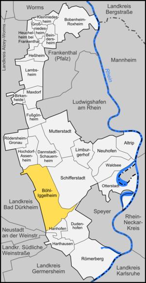 Böhl-Iggelheim - Image: Karte Böhl Iggelheim