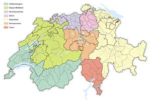 NUTS statistical regions of Switzerland - Image: Karte Grossregionen der Schweiz 2010