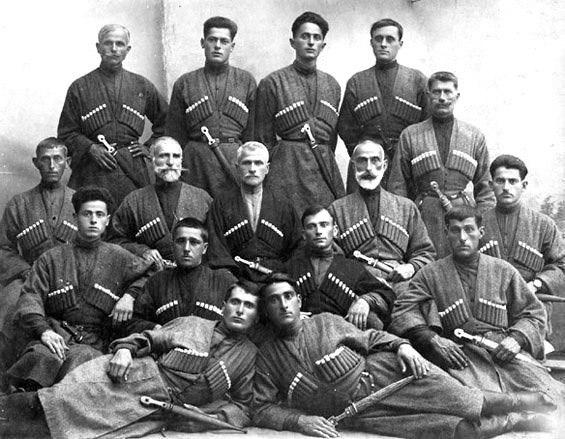 Kartlians and Kakhetians dressed in kartl-kakheti chokha.