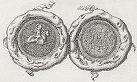 Karybut, Pahonia. Карыбут, Пагоня (K. Kielisiński, 1385, 1841).jpg