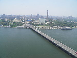 Qasr El Nil Bridge - View of the Qasr El Nil Bridge, with Gezira Island in the background.