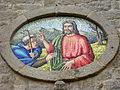 "Kathedrale St. Peter und Apostel, Tempio Pausania, Fassadendetail (""Lux mundi"").JPG"