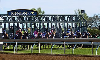 Keeneland - The start of the 2016 Appalachian Stakes, one of many graded races run during Keeneland's spring meet every year.