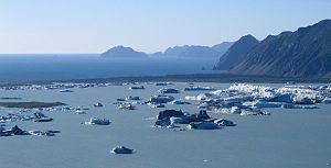 Kenai Peninsula - Kenai Peninsula Bear Glacier Lake and Pacific Ocean
