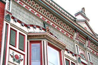 Kendallville, Indiana - Detail of Victorian facade downtown