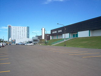 Canad Inns - The Keystone Centre in Brandon, Manitoba with a Canad Inns hotel tower in the background