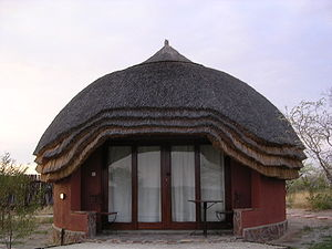 A rondavel at Khutse Kalahari Lodge, Botswana