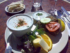 Armenian cuisine - Armenian kibbeh with cucumber/yoghurt soup