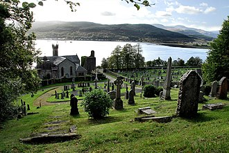 Kilmun Parish Church and Argyll Mausoleum - The church and medieval tower, with the northern Holy Loch in the background