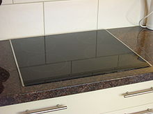 Glassy smooth featureless rectangular cooktop set nearly flush with a kitchen counter